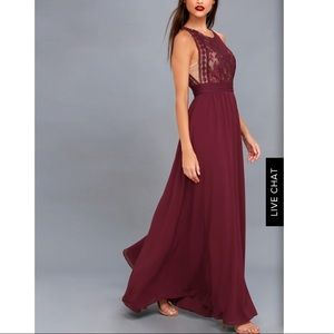 Dresses & Skirts - Burgundy Lace Maxi Dress